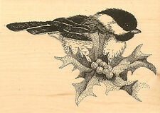 Holly Chickadee Christmas Wood Mounted Rubber Stamp IMPRESSION OBSESSION E7024