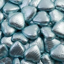 500g Bag Approx 100 LIGHT BLUE Chocolate Foiled Hearts Luxury Wedding Favours