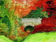 Original Watercolor Colorful Trees & Garden Bridge Wildlife Art Sally Porter
