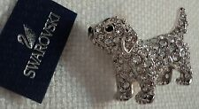 Signed Swan Swarovski Pave' Rhodium Puppy Brooch Pin New