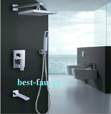 Chrome Bathroom Rain Bath Shower Faucet Set Mixer Tub Tap with Hand Sprayer