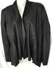 Aqua 5965 Womens Black Leather Drape Front Long Sleeves Jacket XS Rt. 348.00