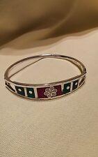 Beautiful Taxco Mexico Cuff/Bangle Bracelet with Multi-Stone Inlayed