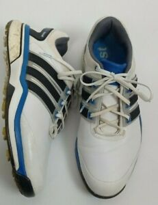 ADIDAS BOOST GOLF SHOES TRAINERS ~ Men's Size 8.5 UK adipower White Blue Leather