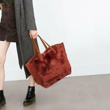 Zara Brown Leather Fur Tote Bag Ref 8835 004