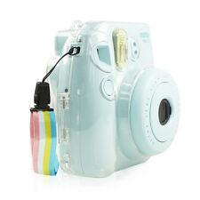Clear Hard-Shell Case+Adjustable Rainbow Neck Strap-Fujifilm Instax Mini 9 8 8s