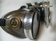 Pro Steampunk Safety Goggles Western Aged Hammered Copper Lab Eye Glasses 7.5x 2
