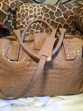 Jimmy Choo Nude Croc Embossed Leather Convertible XL Weekend Travel Duffel Bag