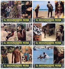 IL DECAMERONE NERO FOTOBUSTE 6 PZ. DECAMEROTICO 1972 AFRICA EROTICA LOBBY CARD