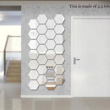 3D Mirror Hexagon Wall Sticker Tile Floor Removable Sticker Room Art Decor