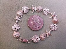 BEAUTIFUL VTG STERLING SILVER BRACELET, CLAM SHELLS, SAND DOLLARS, STAR FISH