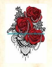 """US Seller- jewelry red rose lace 8.25"""" large arm tattoo temporary summer tribal"""
