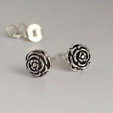 925 Sterling Silver Oxidized Rose Stud Earrings Cartilage helix tragus studs