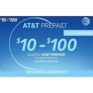 Refill Plan $40 - $100 AT&T Fast, Direct To Phone