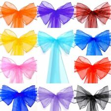 10/20/50/100/200pcs Organza Chair Cover Sash Bow Sashes Wedding Party Decoration