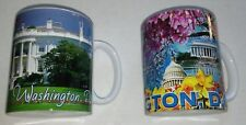 LOT OF 2 WASHINGTON DC CAPITOL Lincoln Memorial WRAPAROUND CUP COFFEE MUG
