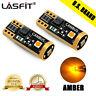 LASFIT 3000K Amber W5W 175 2825 168 194 T10 LED Parking Light Bulbs Super Bright