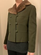 Gorgeous Hucke Vintage Retro Fur Wool Green Coat 50s 60s Size S Small 6 8 10