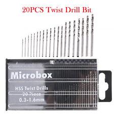 20 Set Mini Micro Hand Twist Drill 0.3-1.6mm HSS Bit Spiral Drill Bits with CASE