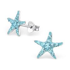 925 Sterling Silver Crystal Aqua Blue Starfish Kids Girls Stud Earrings