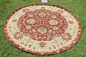 Round Hand Woven Area Rugs Tribal Turkish Flat Weave Kilim Wool Dhurrie 8x8 feet