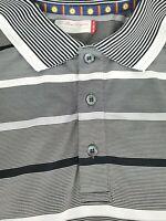 Ben Hogan Mens Black White Striped Golf Short Sleeve Polo Shirt Size 2XL