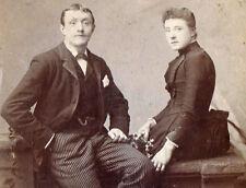 Vintage Photo (c.1880s) - Victorian Couple - Rochdale, Manchester, UK - Cab Card