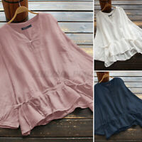 ZANZEA Women Casual V Neck Top Tee T Shirt Plain Solid Color Basic Cotton Blouse