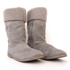 GIRLS SHERPA FAUX FUR & SUEDE LEATHER SIZE 5 MID CALF WINTER BOOTS GRAY
