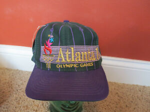 Vintage 1996 Atlanta Olympic Games pinestripes Hat Purple/Green The Game, NWT!
