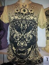 Yoga Men T Shirt short sleeve cotton Mask Demon Bali  tattoo India Om L Sure new