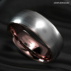 8mm Tungsten ring Silver Brushed Rose Gold Inlay Wedding Band ATOP Mens Jewelry