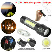 Portable T6 COB LED Tactical USB Rechargeable Zoomable Flashlight Torch Lamp XL