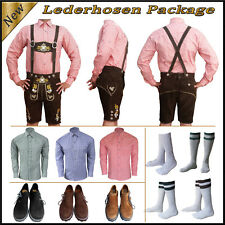 New German Bavarian Trachten Oktoberfest Men Short Lederhosen Package Set Gs223