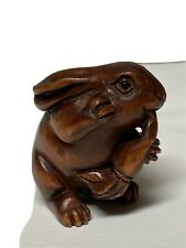 Vintage Hand Carved boxwood netsuke rabbit Bunny Signed