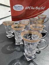 GLASS TEA MUG 6 Pc Set Gold Filigree Floral Discontinued Alpine Cuisine 5 oz