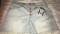 Universal Thread Size 6/28 Light Wash Jean Button Fly High Rise Midi Shorts NWT