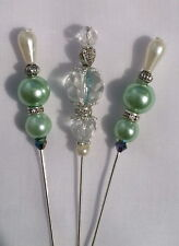 "3 handmade aqua crystal antique style craft hijab hat pin - 3"" + end caps & box"