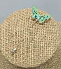 """Vintage Gold Tone Teal Green Speckled Butterfly Decorative Stick Pin 2.25"""""""