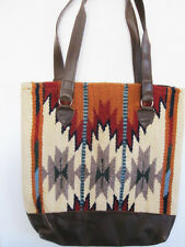Artisan Handwoven Wool SOUTHWESTERN Cream multi-color Bag faux leather  Tote