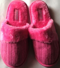 """Slippers Izod womens size M 7-8M new cable knit pink fabric upper 9"""" insole"""