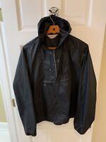 McGregor Men Large L Anorak Jacket Pullover Hood Windbreaker Black Nylon Vintage