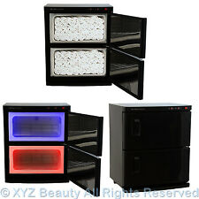 Black 2 Cabinet Hot Towel Warmer UV Sterilizer w/ 48 Hand Towels Salon Equipment