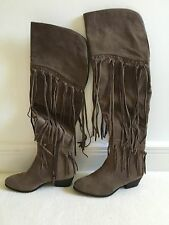 LADIES BEIGE RIVER ISLAND FAUX SUEDE KNEE HIGH BOOTS WITH TASSELS - SIZE UK 5