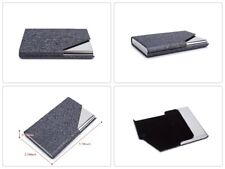 Stainless Steel Name Card Holder ID Case Soft Interior with Magnetic Shut Grey