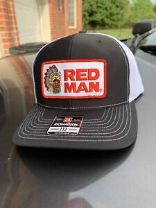 Red Man Chewing Tobacco Black/White Trucker Hat Richardson 112 Cap Vintage Style