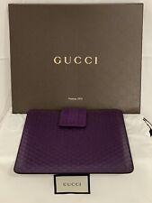 NWB Authentic GUCCI Dark Purple Genuine Leather Tablet/iPad Case