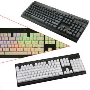 PBT Double Shot Translucent Keycaps Black/White for Corsair Razer CM Logitech