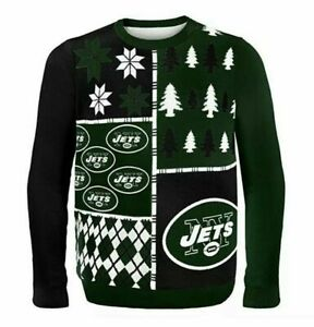 New York Jets Busy Block Ugly Christmas Sweater Large Brand New