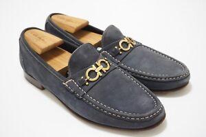Salvatore Ferragamo Blue Suede Gold Gancini Bit Leather Mens Loafers Sz 10.5D
